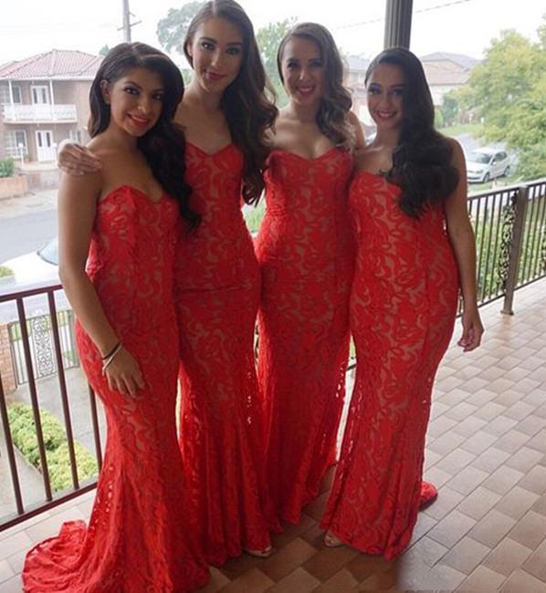 Vestidos de Madrinha Vermelho com renda são com certeza uma escolha perfeita